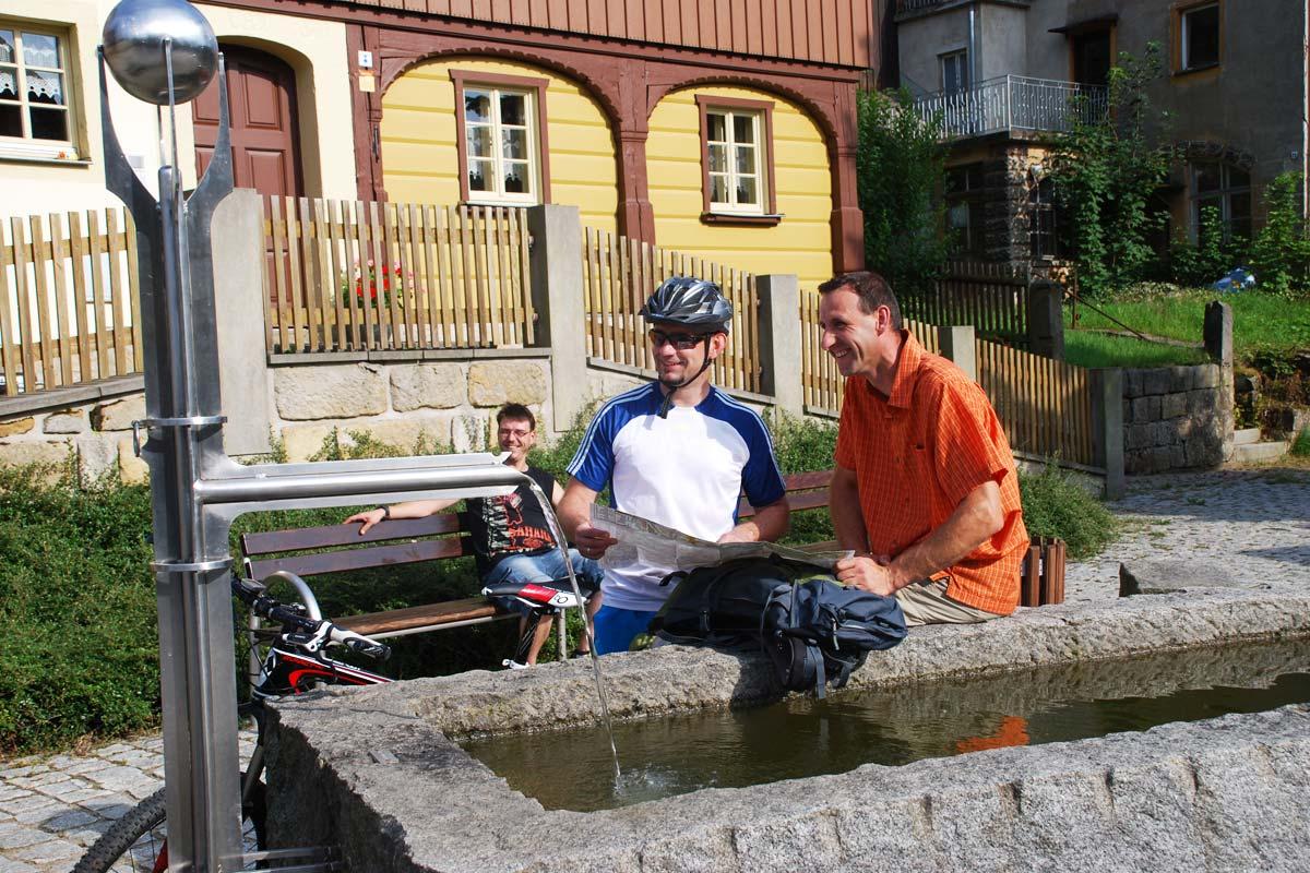 Wasserspiel am Ferienhaus Osterbrunnen